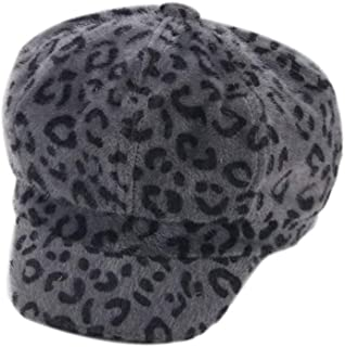 BODOAO Winter Decoration Leopard Women's Cap Beret Warm Fashion Hat