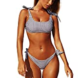CheChury Conjuntos De Bikini De Talle Alto a Tartán Sexy Retro Brasileños Mujer Traje De Baño Cuello Halter Crop Top Push Up Bra Bikini Anudado Tiras Tanga Braga Bikini Triangulo