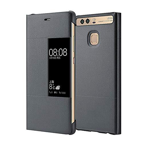 MOONCASE Klappetui Leder Tasche Schutzhülle Hülle Flip View Cover für Huawei P9 Plus Grau