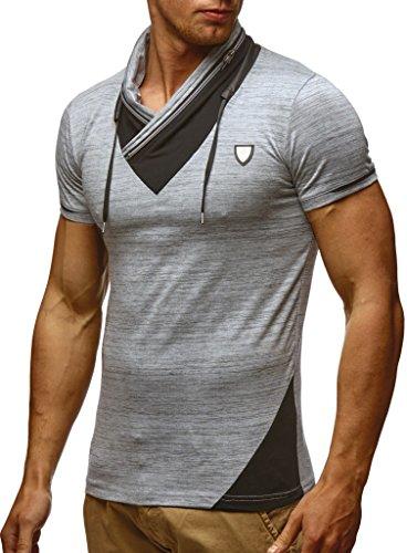 Leif Nelson Herren Sommer T-Shirt Stehkragen Slim Fit Casual Baumwolle-Anteil Cooles weißes schwarzes Männer Kurzarm-T-Shirt Hoodie-Sweatshirt-Longsleeve lang LN805 Grau Medium