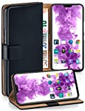 moex Handyhülle für OnePlus 6 - Hülle mit Kartenfach, Geldfach & Ständer, Klapphülle, PU Leder Book Hülle & Schutzfolie - Schwarz