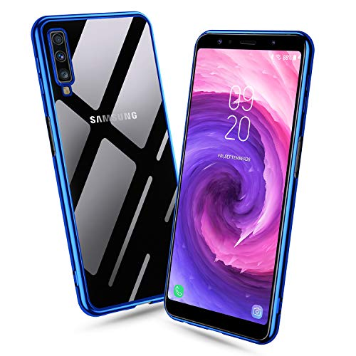 Bewahly Samsung Galaxy A7 2018 Hülle, Ultra Dünn Elektroplattieren Durchsichtige Schutzhülle Case Stoßfest Scratchproof Transparent TPU Weich Silikon Handyhülle für Samsung Galaxy A7 2018 - Blau
