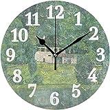 アッターのサイレントラウンドウォールクロック城、グスタフクリムトのホームアートの装飾10インチの時計、寝室、キッチンを参照してください。