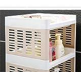 KYMAN Aufbewahrungsregal Küchenregal Badezimmer mehrschichtiger Bodenbelag Kunststoff Lagerregal mit Riemenscheiben, platzsparend (Farbe: Braun, Größe: 2.), Farbe: Weiß, Größe: 5.