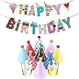 JZK Geburtstagsdeko, Geburtstag Dekoration Set, 1 Stück Happy Birthday Banner + 9 Stück Bunte...