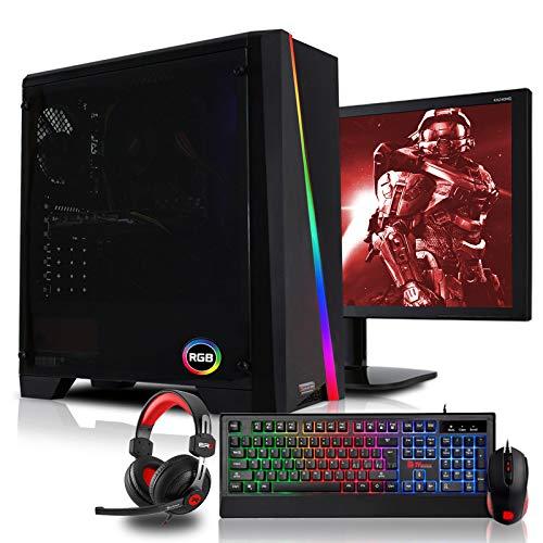 dcl24.de [11749] Gaming Komplett PC Set Cylon RGB AMD Ryzen 3-3200G 4x3.6 GHz - 240GB SSD & 1TB HDD, 16GB DDR4, Vega 8, 24 Zoll TFT Maus Tastatur Headset WLAN Windows 10 Pro