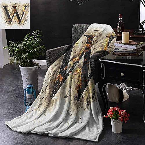 ZSUO bank deken W symbool op brand geschroefd wazig achtergrond warmte afbeelding rook ontwerp afdrukken binnen/buiten, comfortabel voor alle seizoenen 60