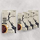 New | Nordic Reindeer Jerky with Sea Salt (Original Swedish) - 4-Pack (4 x 25g) - Only Natural Ingredients - Alternative to Beef Jerky - High Protein - Low Fat - Low Carb - Soy Free
