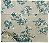 Linen & Cotton Camino de Mesa de Tejido Flores Diseño Floral - 100% Lino, Azul Beige Natural (40 x 200 cm) Decoración de Mesa de Madera Shabby Chic Vintage Rústico para el Hogar Sala de Estar Cabaña