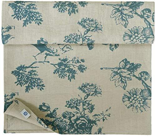 Linen & Cotton Camino de Mesa de Tejido Flores Diseño Floral - 100% Lino, Azul Beige Natural (40 x 140 cm) Decoración de Mesa de Madera Shabby Chic Vintage Rústico para el Hogar Sala de Estar Cabaña