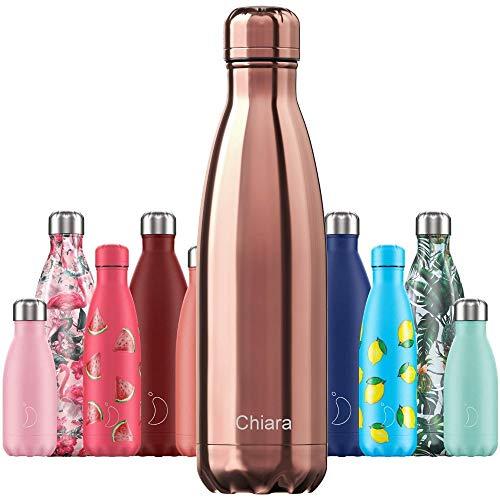 Chillys Isolierflasche MIT Gravur (z.B. Namen) Chrome Roségold 500 ml, hält bis zu 12 Std heiß / 24 Std kalt, auslaufsicher, kohlensäuredicht, Thermo-Flasche Trinkflasche Bottle