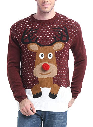 Daisysboutique Men's Holiday Reindeer Snowman Santa Snowflakes Sweater (Large, Reindeer)