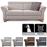 Cavadore 3-Sitzer Sofa Ammerland / Couch mit Federkern im Landhausstil / Inkl. verstellbaren Kopfstützen / 186 x 84 x 93 / Strukturstoff weiß-beige