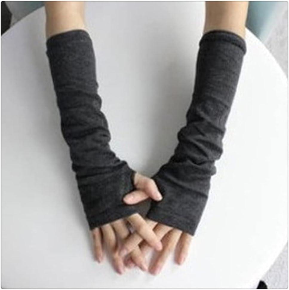 WBDL 1 Pair Soft Stretchy Wrist Arm Hand Warmer Knitted Mittens Women Winter Long Fingerless Gloves Black