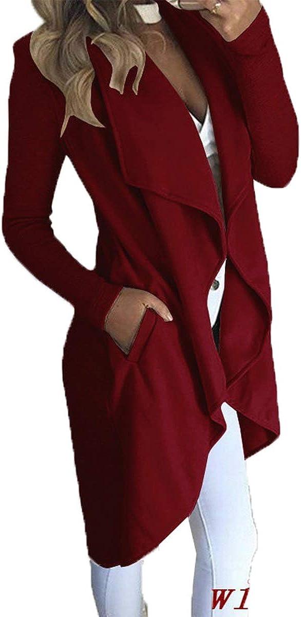 Cocoinsity Womens Draped Open Front Trenchcoats Irregular Jacket