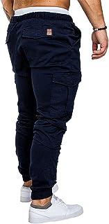 بناطيل Xieifuxixxxnnsdk للرجال سراويل رجالية مرنة سطحية متعددة الجيوب رباط سراويل رياضة للركض وسراويل يومية ملابس رجالية ل...