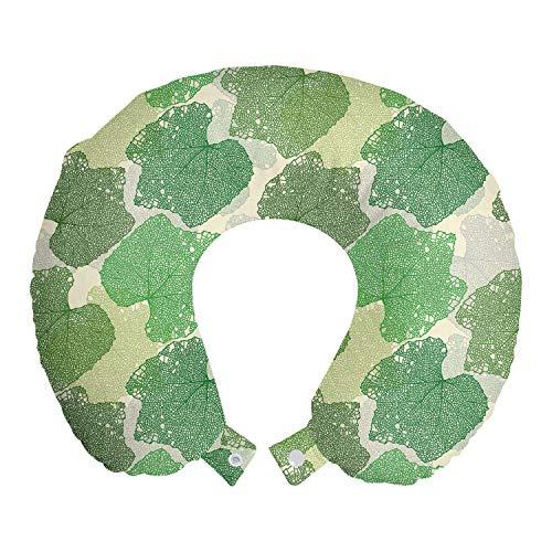 ABAKUHAUS Baum Reisekissen Nackenstütze, Lace Blick Mikroskopische Blätter, Schaumstoff Reiseartikel für Flugzeug und Auto, 30x30 cm, olivgrün