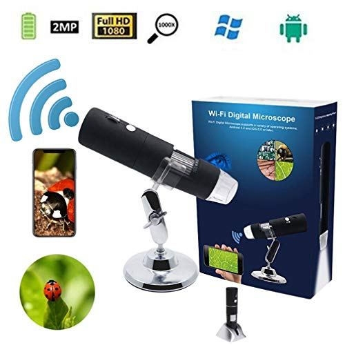 CARDVR 1000x digitale handmicroscoop vergrootglas camera 2MP Full HD 1080P / WiFi voor iPhone iOS Android iPad ingebouwde oplaadbare lithiumbatterij met 8 LED-lampen, zwart