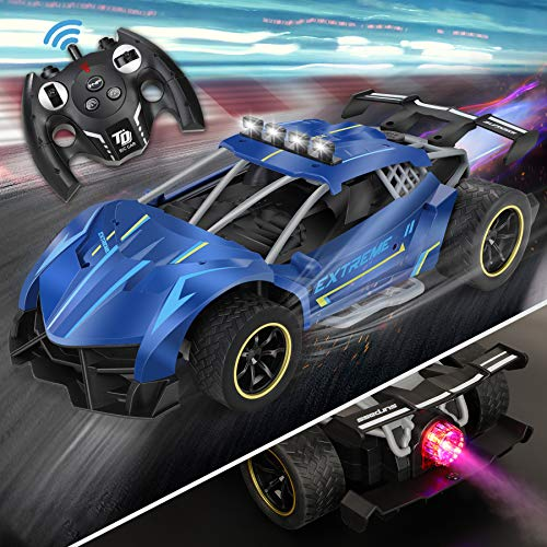 RC Cars, 1:12 Scale Sports Car with Awesome Rear Fog Stream & LED Lighting Spray 4WD Off Road Rock Crawler High Speed 25 Km/h Racing RC Car Toys with Rechargeable Battery All Terrain