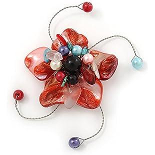 Avalaya Handmade Brick Red Shell, Beaded Wire Flower Brooch In Silver Tone - 45mm Diameter