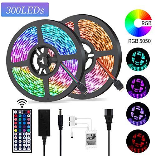 Striscia LED, Yizhet 10M 300 LED RGB 5050 Strisce LED 20 Colori e 12 Modalità Luci Led Impermeabile LED Retroilluminazione Strisce con 44 Tasti Telecomando RF per TV, Camera, Cucina Decorazione