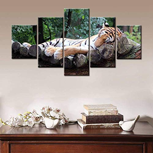The Tiger Lying On The Stake Cozy Animal Forest Picture 5 paneles Modular Canvas Painting Print Wall Art Decor para el hogar 30x40cmx2 30x60cmx2 30x80cmx1 Sin marco