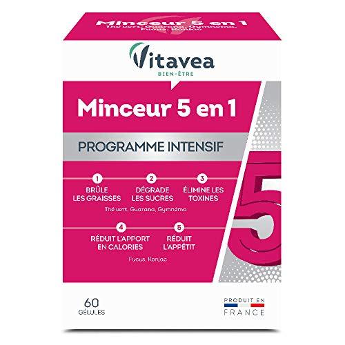 Vitavea - Minceur 5 actions en 1 - programme intensif - complément alimentaire brule graisse coupe faim - fucus Konjac - 60 gélules - fabriqué en France