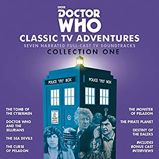 Doctor Who: Classic TV Adventures Collection One     Seven full-cast BBC TV soundtracks              By:                                                                                                                                 Kit Pedler,                                                                                        Gerry Davis,                                                                                        Malcolm Hulke,                   and others                          Narrated by:                                                                                                                                 Patrick Troughton,                                                                                        Jon Pertwee,                                                                                        Tom Baker,                   and others                 Length: 16 hrs and 25 mins     77 ratings     Overall 4.8