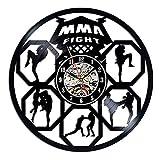 FDGFDG Champion MMA Reloj de Pared con Registro de Vinilo diseño Moderno Lucha Deportiva Reloj de Vinilo Retro Reloj de Pared decoración Familiar Regalo para Hombre campeón de Boxeo