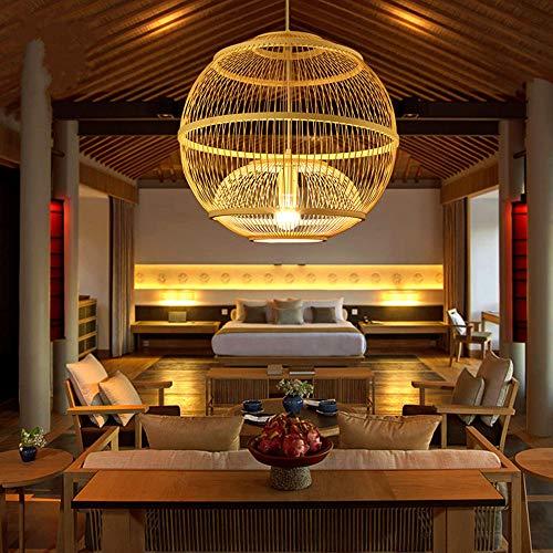 DXQWAN Mimbre de Mimbre de bambú Techo araña Regalo de inauguración Retro Pantalla de la lámpara lámpara de Techo Retro Restaurante salón lámpara de lámpara de araña E27