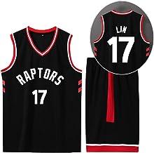 CURVEASSIST Conjunto De Camisetas De Baloncesto Toronto Raptors # 17 Lin Men Retroceso TranspirableBaloncesto Short De Verano Ropa Deportiva De Secado Rápido Negro,Black-S
