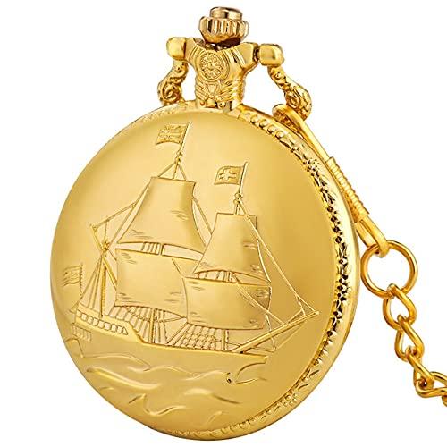 SSJIA Reloj Colgante de Cuarzo con diseño de velero Dorado, Reloj Colgante con Cadena, Cadena de Bolsillo de 30 cm