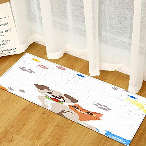 XIAOZHANG Passatoia Corridoio Tappeto Tessuto Flanella Cucciolo di Cane dei Cartoni Animati Lunghi Tappetino Antiscivolo Tappetino Assorbente da Cucina Prova di Olio Tappeto Resistente 40X120Cm