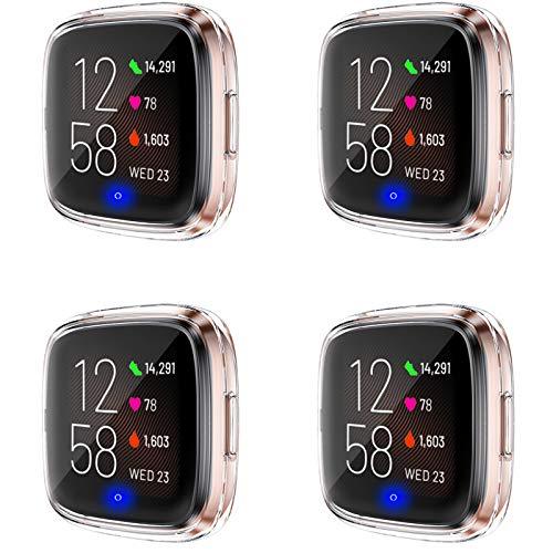 Upeak 4 Pack Funda Compatible con Fitbit Versa 2 Protector Pantalla, Estuche de Cobertura Completa de TPU Suave Solo Compatible con Fitbit Versa 2, 4 Claro