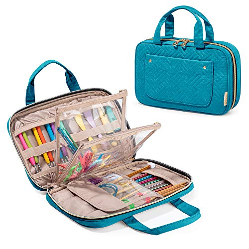 """YARWO Knitting Needles Case (up to 10.6""""), Crochet Hooks Organizer with Double Handle for Circular Knitting Needles and Knitting Accessories, Teal (Bag Only)"""
