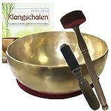 Klangschale GELENKSCHALE - UNIVERSALSCHALE Therapie-Qualität 4-teiliges Klangmassage-Set + BUCH von Peter Hess. Therapieklangschale ca. 900g-1000g ca. 19-20 cm mit Kissen, Klöppel. 70051