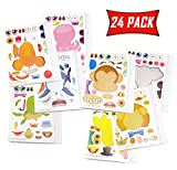 Make A Face Stickers for Kids Party Favors, Prizes, Crafts - Make Your Own Stickers for Boys and Girls with Zoo Animals and Sea Creatures - Pack of 24 Mix and Match Sticker Sheets