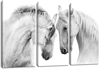 KALAWA Horse Decor Horse Pictures Painting Canvas Wall Art Decor for Bedroom,White Horse Picture Wall Art Painting Print on Canvas for Living Room or Office Framed