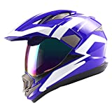 1Storm Dual Sport Helmet Motorcycle Full Face Motocross Off Road Bike Racing Blue White,Size XXL
