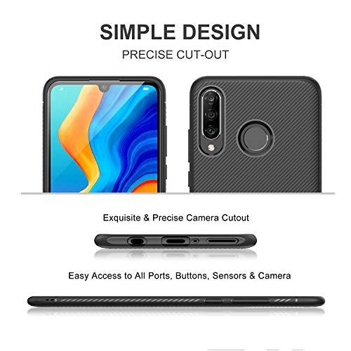 iBetter für Huawei P30 lite Hülle, Ultra Thin Tasche Cover Silikon Handyhülle Stoßfest Case Schutzhülle Shock Absorption Backcover Hüllen passt für Huawei P30 lite Smartphone (Schwarz) - 4