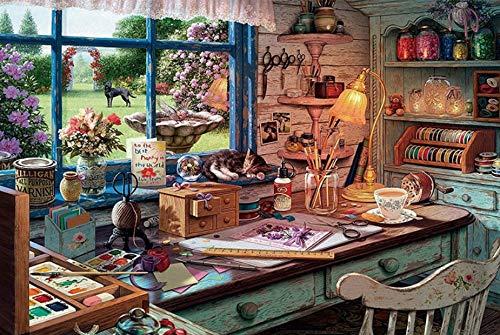 xmydeshoop Puzzle Unordentlicher Schreibtisch Das Holzpuzzle 1000 Stück Puzzle Erwachsene Kinder Lernspielzeug Geburtstag