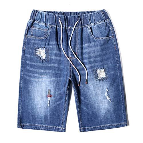 Más el Tamaño 7XL 8XL 9XL Verano de los Hombres Pantalones Vaqueros Cortos de Moda Casual Suelto Agujero Recto Denim Shorts Azul 8XL