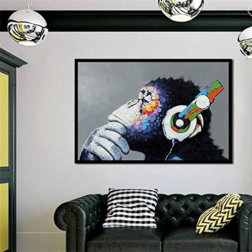 Abstracte canvas afdrukken, muurkunst, olieverfschilderij, koptelefoon, muziek, mono, muurschildering, woonkamer, affiche, decoratie 30x45cm No Frame