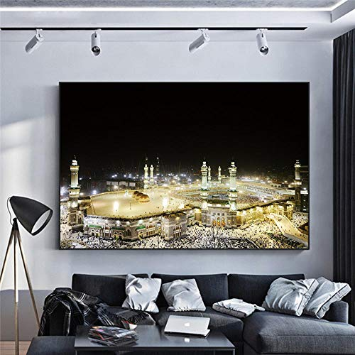 WTYBGDAN Moderne muslimische Hajj-Mekka-Moschee, die Leinwand-Plakate Malt und islamische Kunst-Bild auf Wandkunst für Wohnzimmer-Dekor druckt | 70x100cm / kein Rahmen