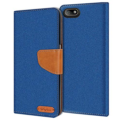 Verco Y5 2018 Hülle, Schutzhülle für Huawei Y5 2018 Tasche Denim Textil Book Hülle Flip Hülle - Klapphülle Blau