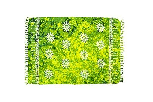 MANUMAR Damen Pareo blickdicht, Sarong Strandtuch in grün mit Sonne Motiv, XL 175x115cm, Handtuch Sommer Kleid im Hippie Look, für Sauna Hamam Lunghi Bikini