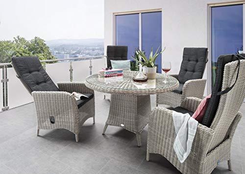 Destiny Sitzgruppe Luna Vintage Weiß Garnitur Gartenmöbelset Polyrattan 9teilig