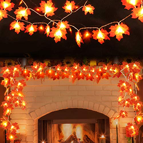 2Pack Fall Decor Garland for Home, 9.8Ft Fall String Lights Maple Leaf Garland with Battery Operated 40LED,Waterproof Artificial Harvest Halloween Thanksgiving Christmas Decorations for Indoor Outdoor