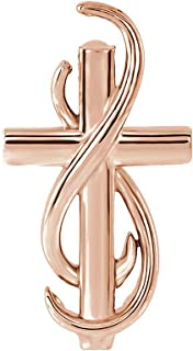 Black Bow Jewelry 14k Rose Gold Infinity Cross Slide Pendant, 15mm