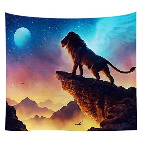 mmzki Lannidaa Psychedelic Magic Alien Tapisserie Wolf Lions Muster Hängende Wandteppiche Decke Wohnheim Zimmer Kunst Dekor Camping Tuch 44 150x230cm